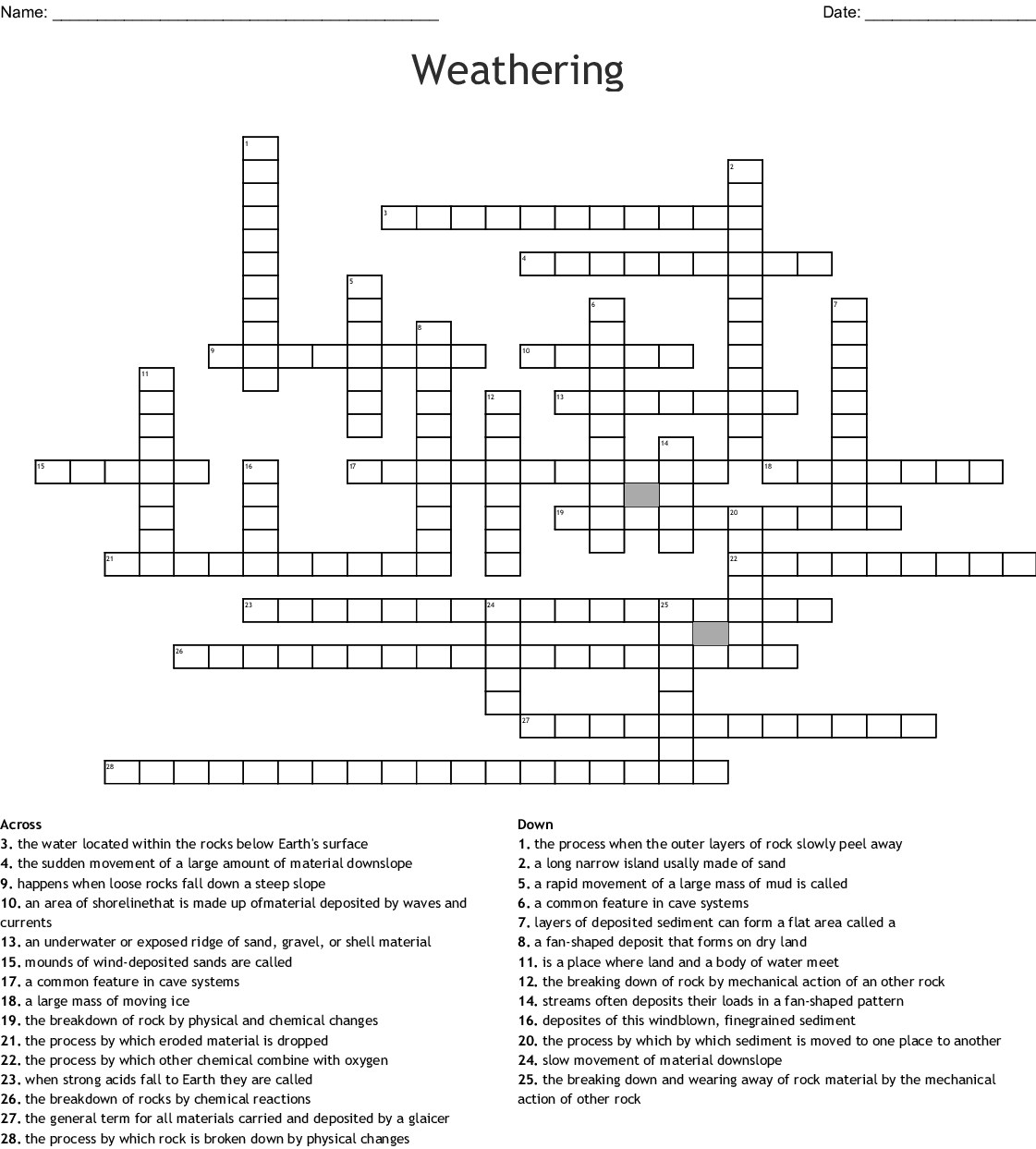 Weathering Erosion And Deposition Word Search