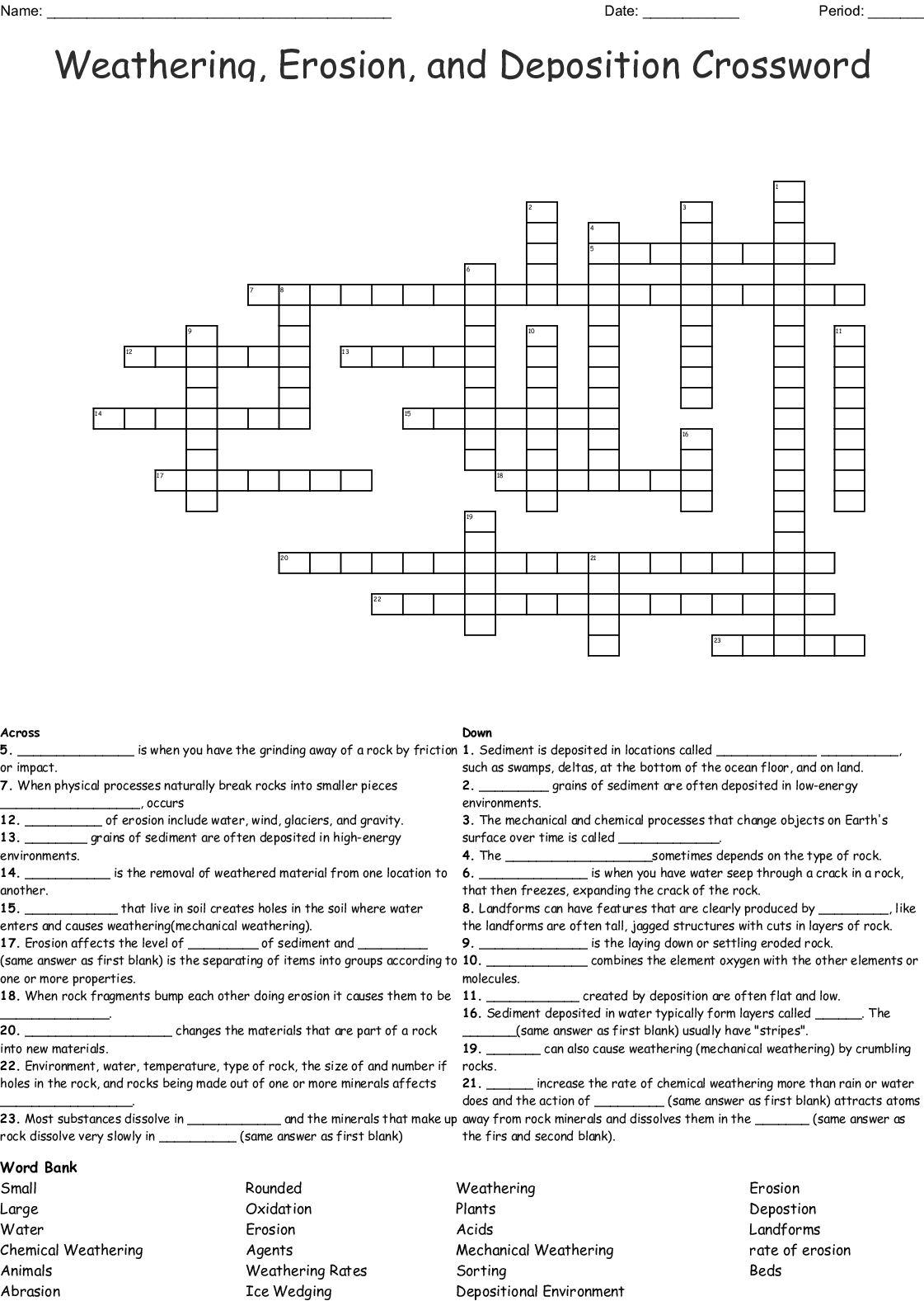 Weathing Erosion And Deposition Crossword