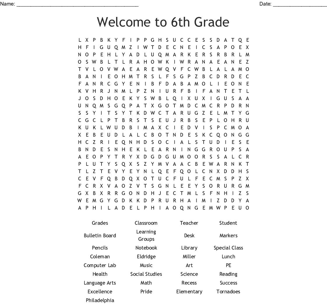 4th Grade Word Search