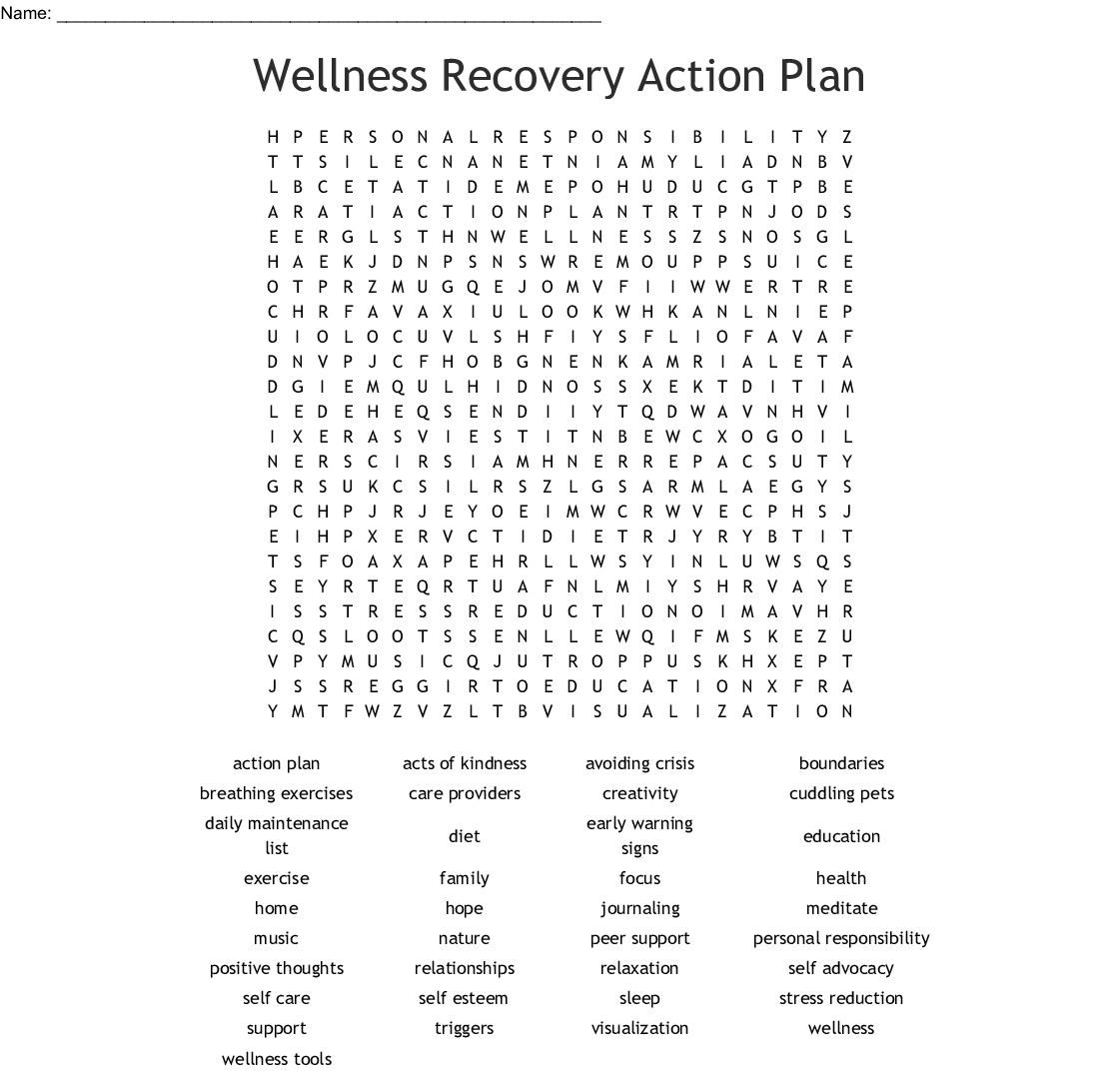 Wellness Recovery Action Plan Word Search