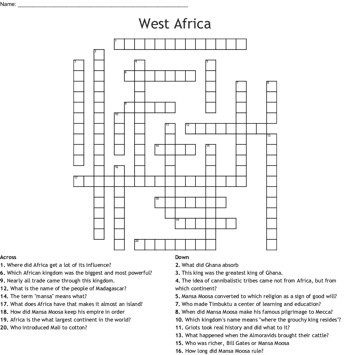 African Empires Crossword