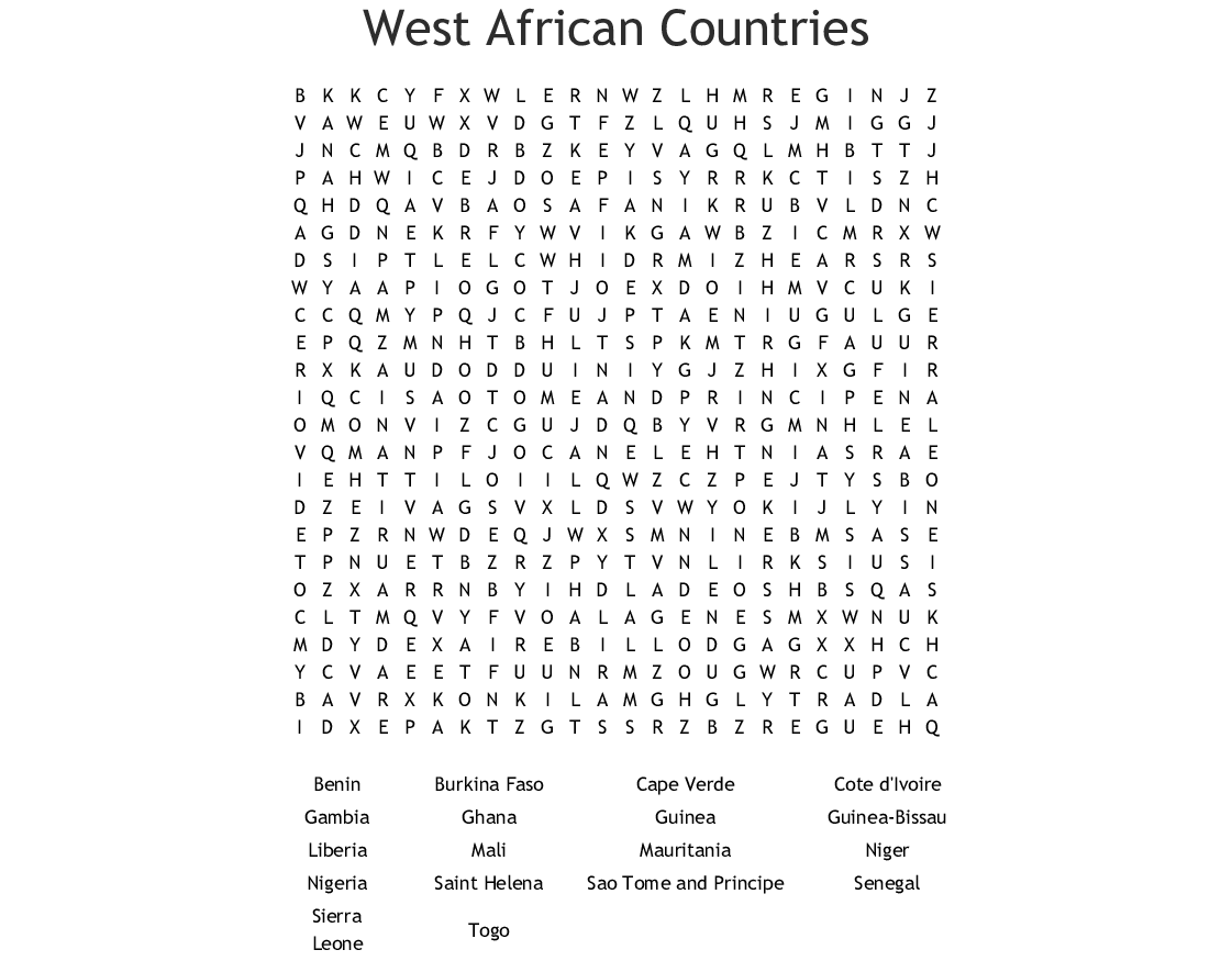 African Countries Word Search