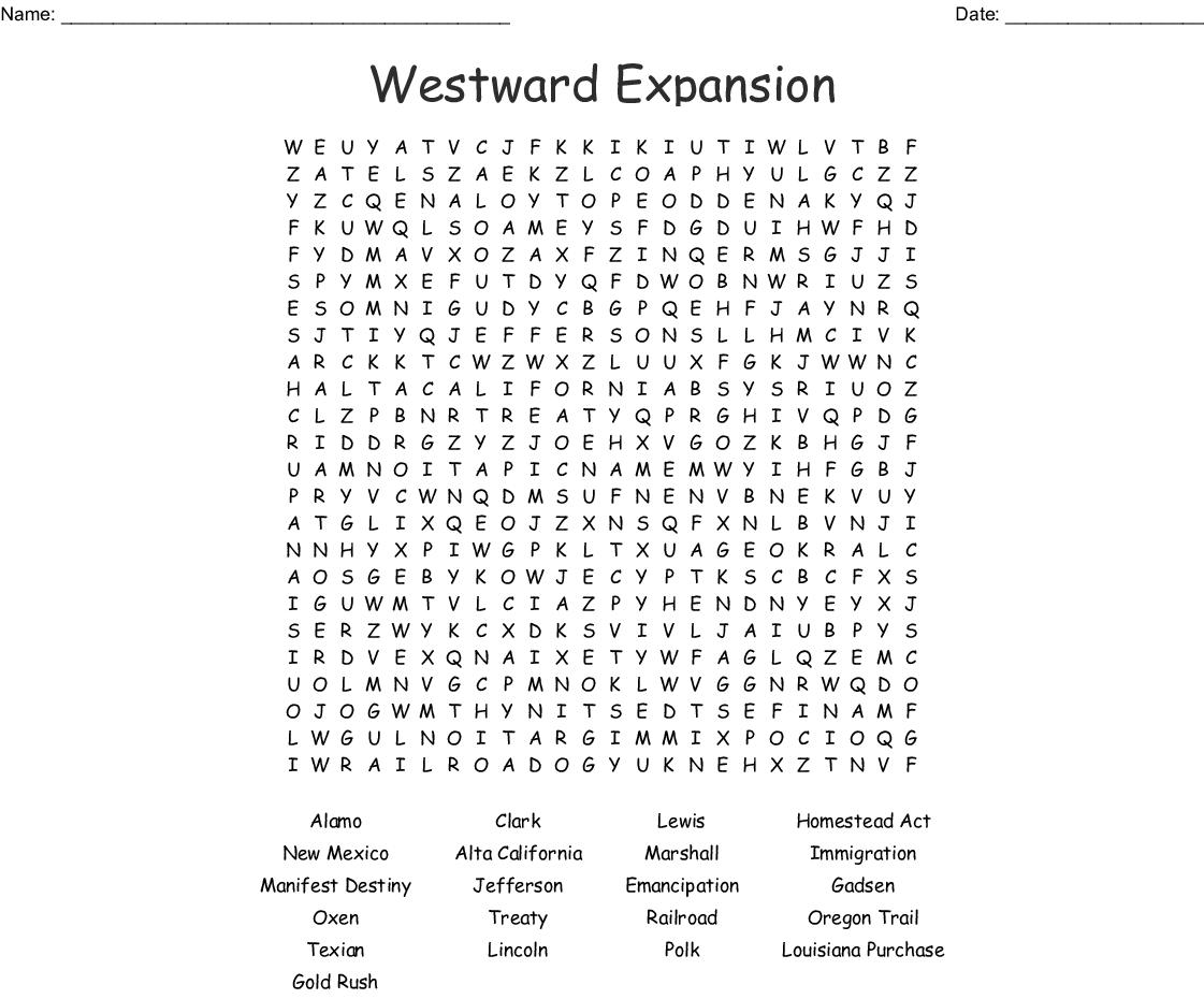 Westward Expansion Worksheet Answer Key