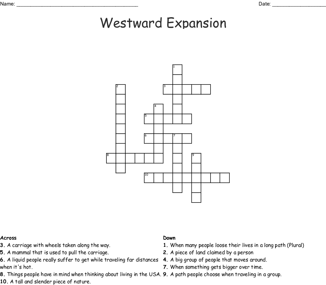 Westward Expansion Crossword