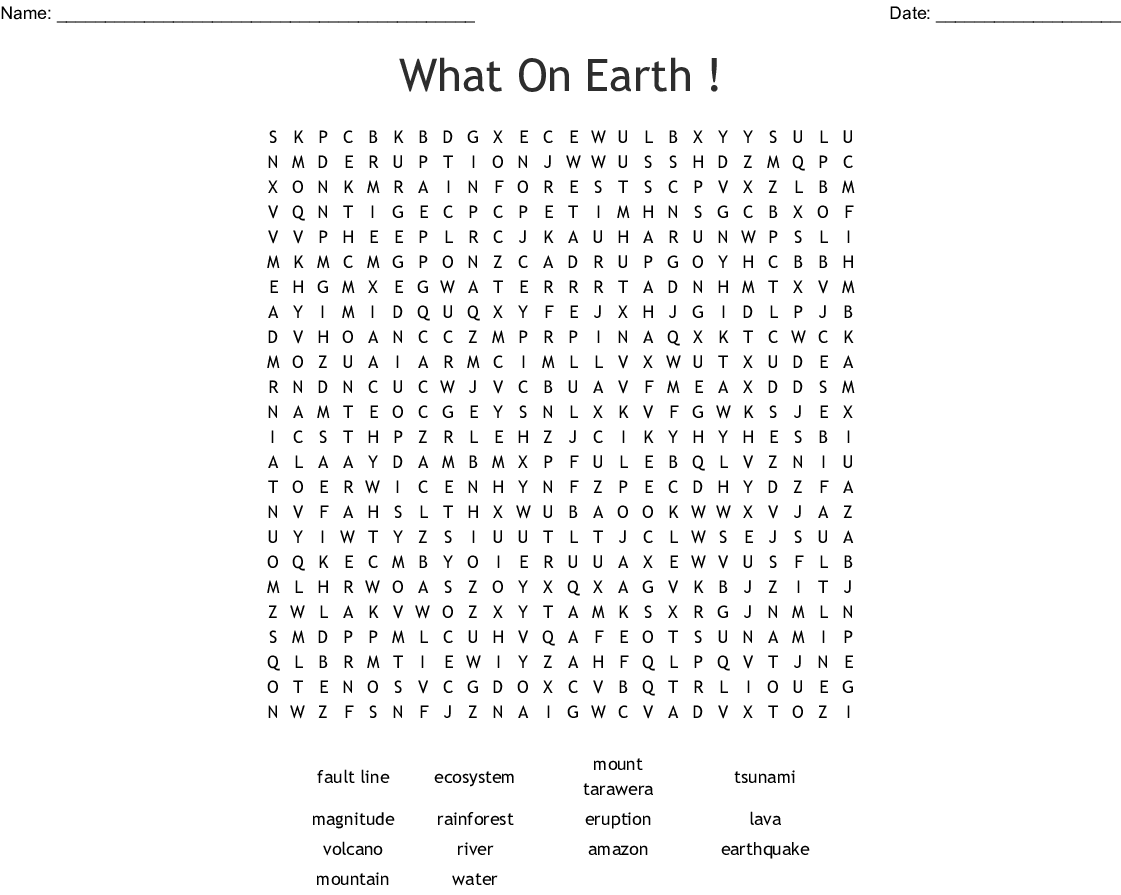 What On Earth Word Search
