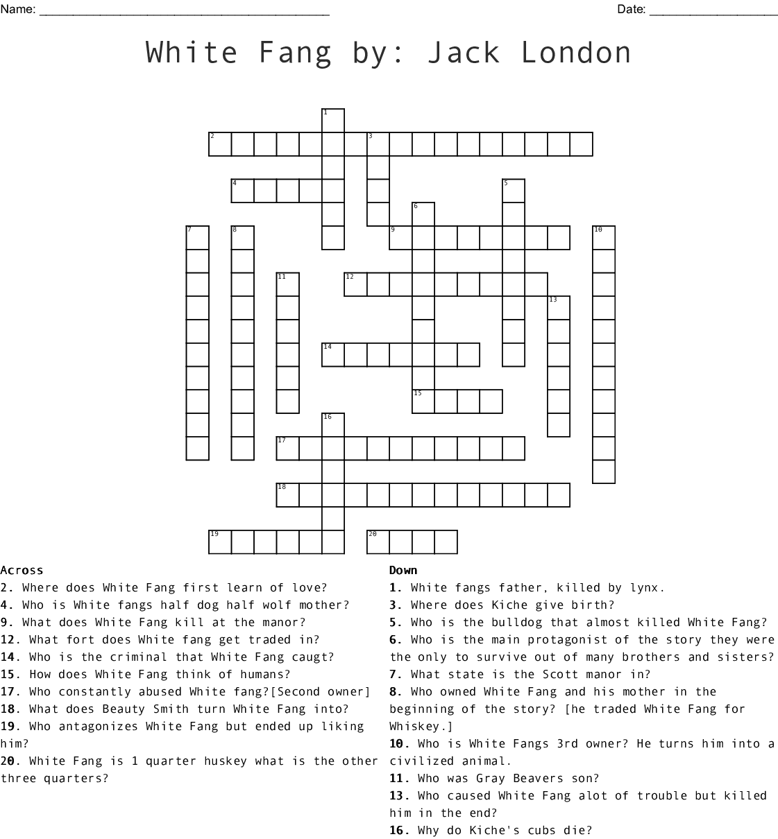 White Fang By Jack London Crossword