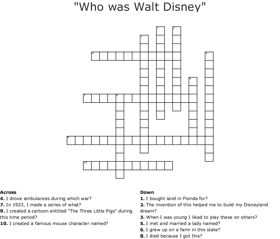 Walt Disney Word Search