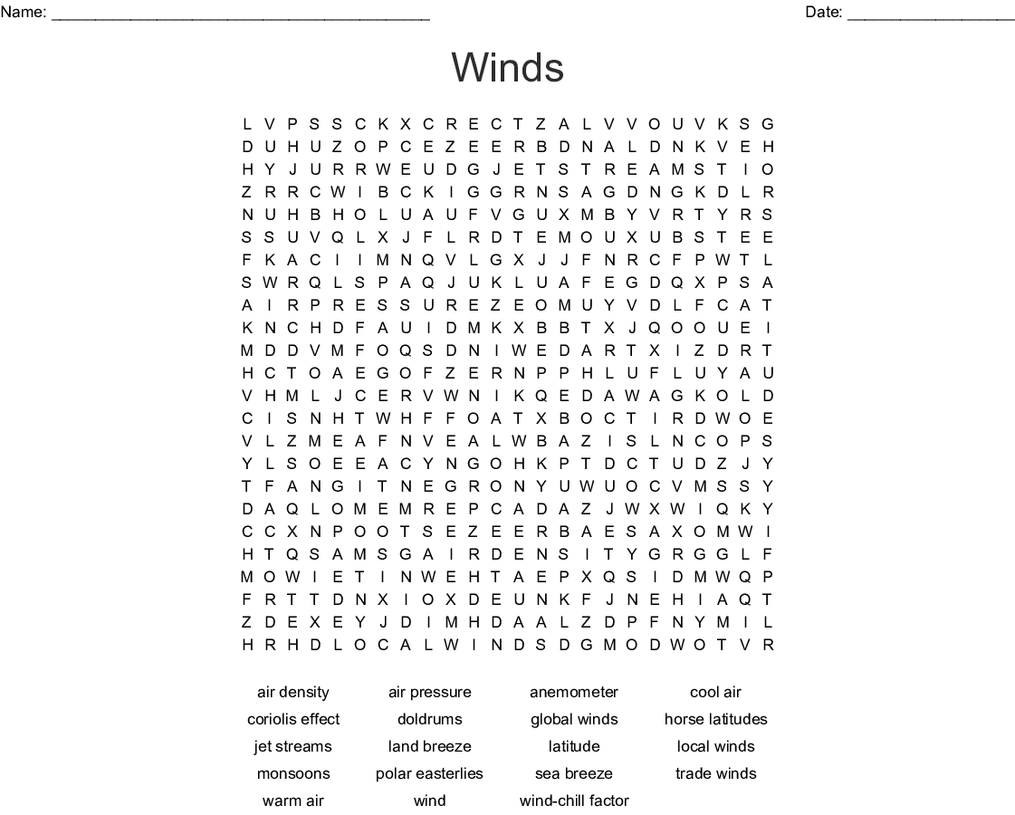 Winds Word Search