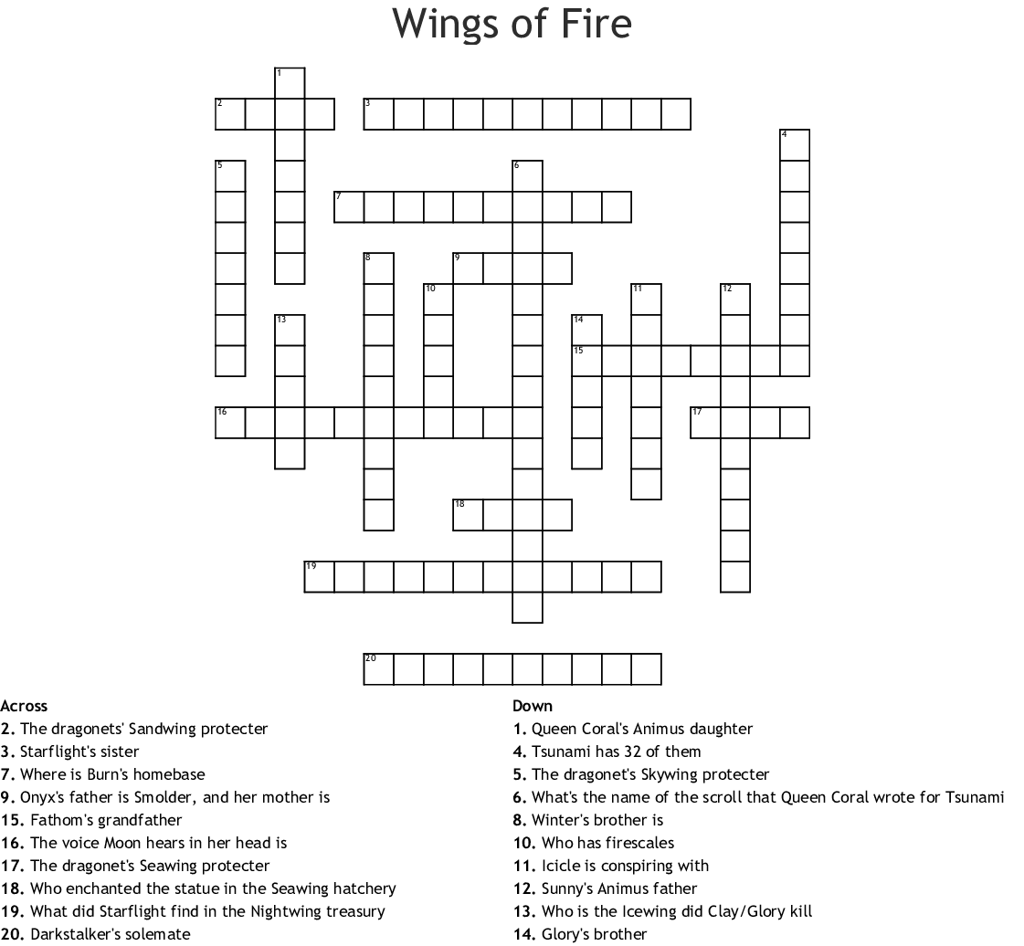 Wings Of Fire Crossword