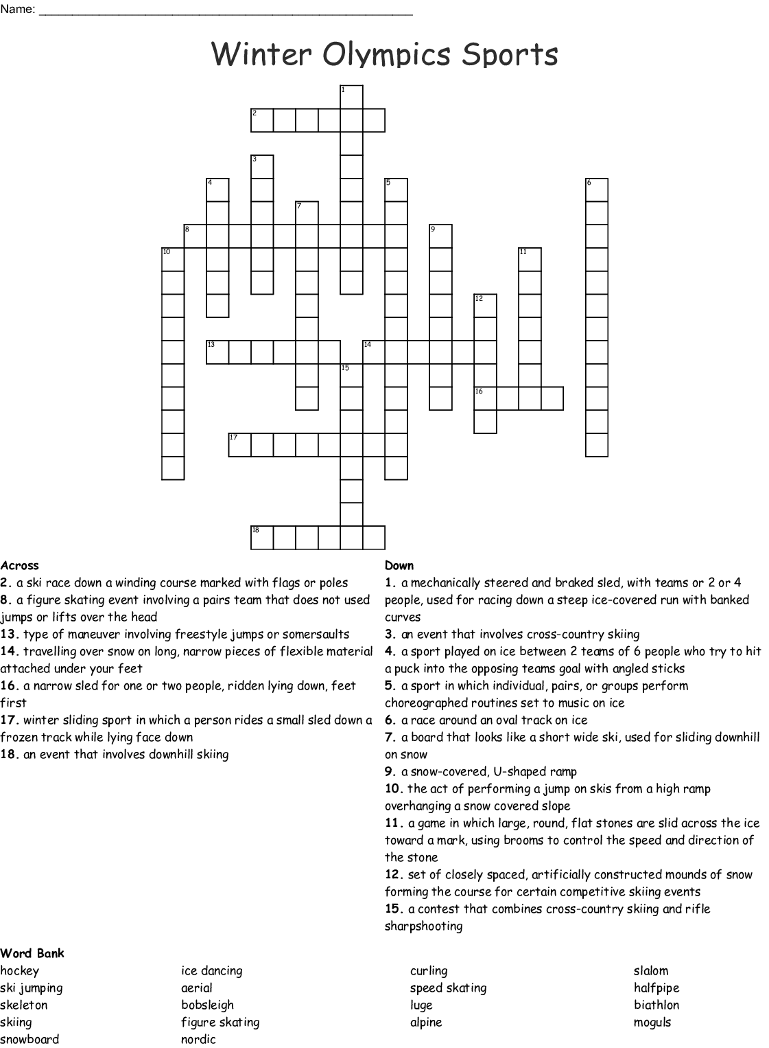 Skating Word Search
