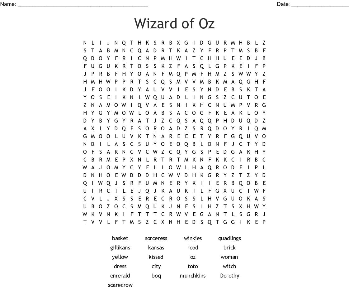 The Wizard Of Oz Crossword