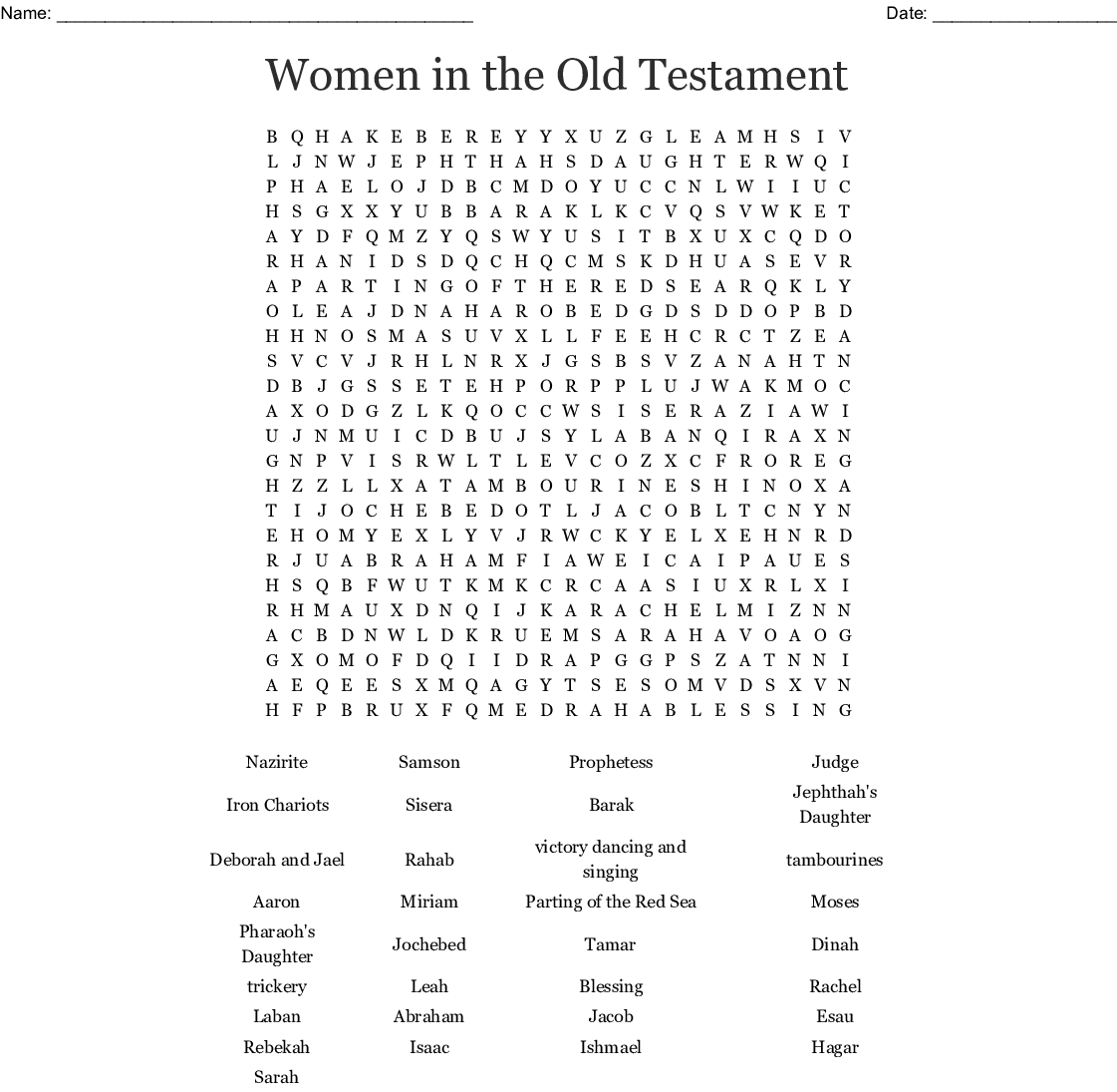 Women In The Old Testament Word Search