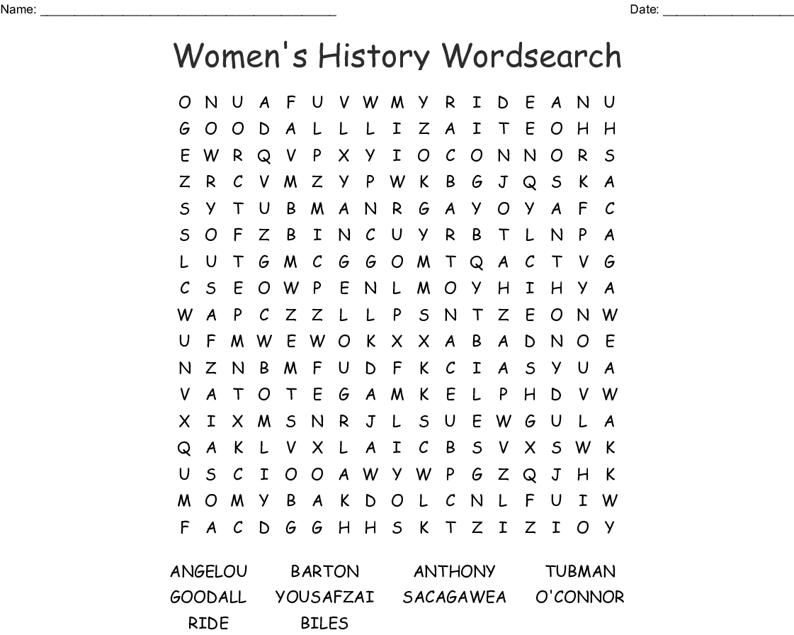 Women S History Word Search