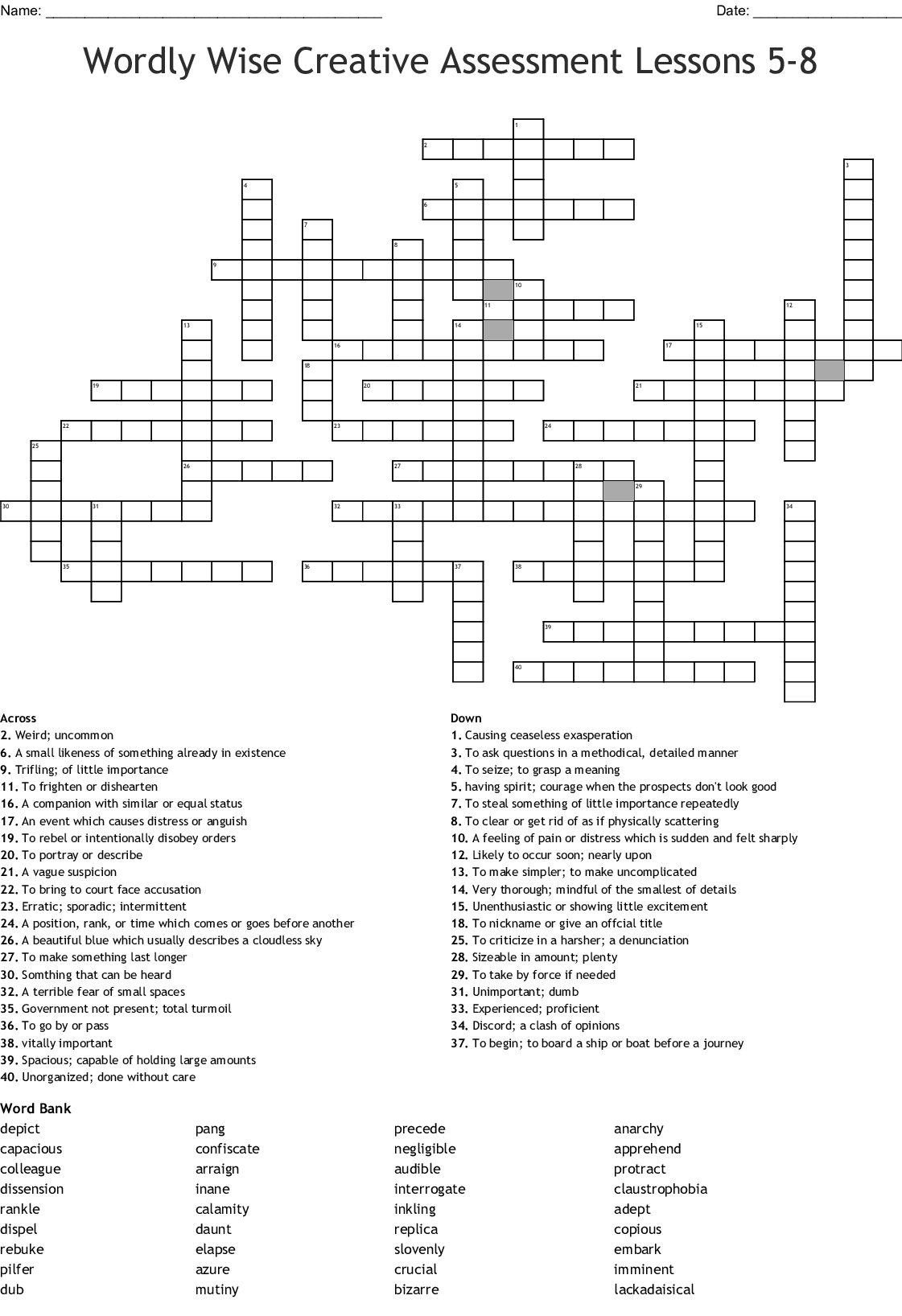 Wordly Wise Creative Assessment Lessons 5 8 Crossword
