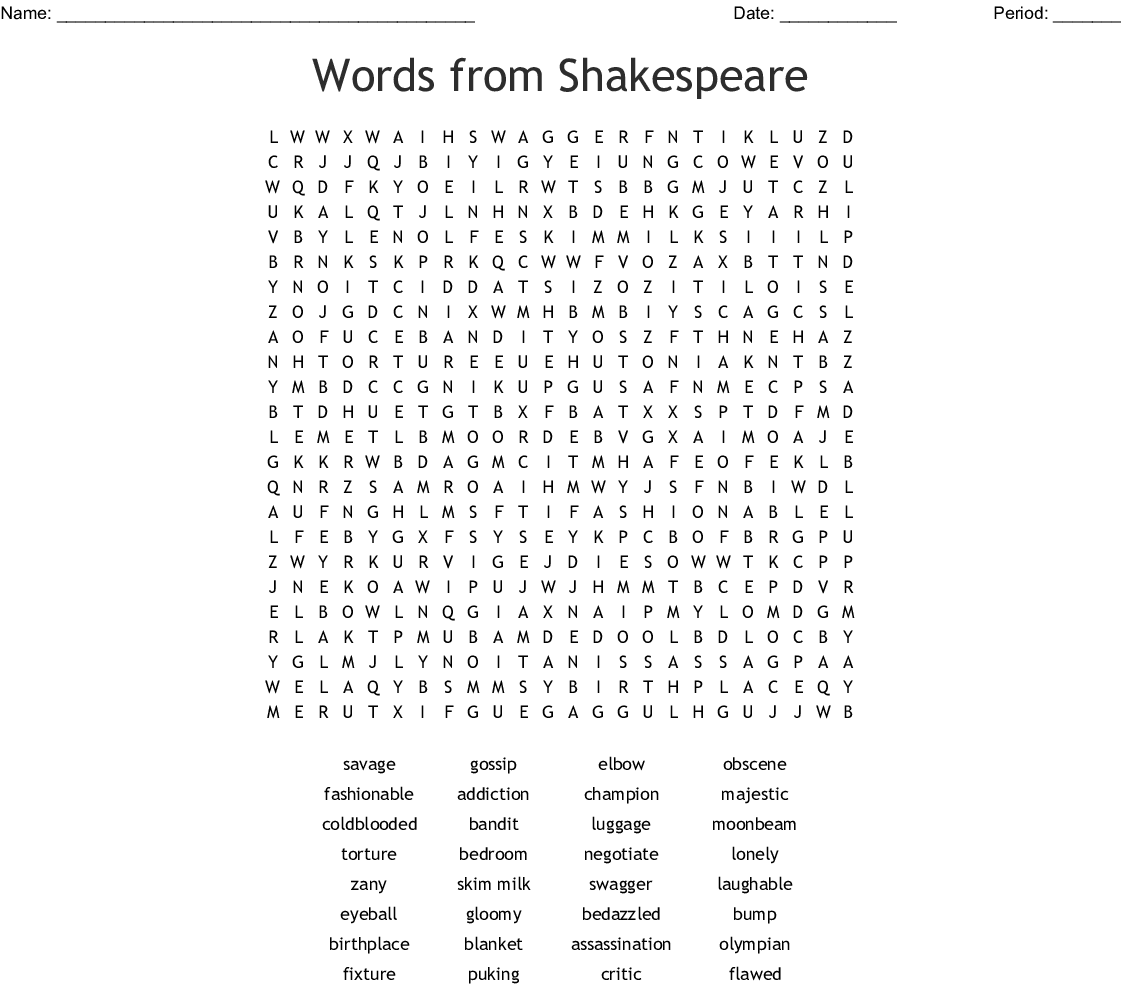 Shakespeare Words Word Search