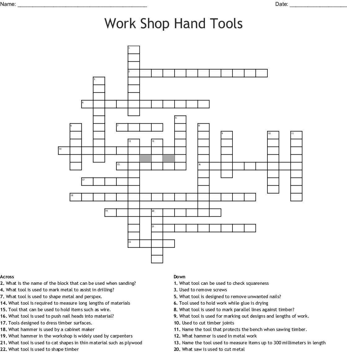 Dt Work Crossword