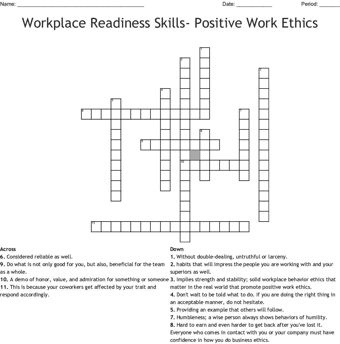 Workplace Readiness Skills Positive Work Ethics Crossword