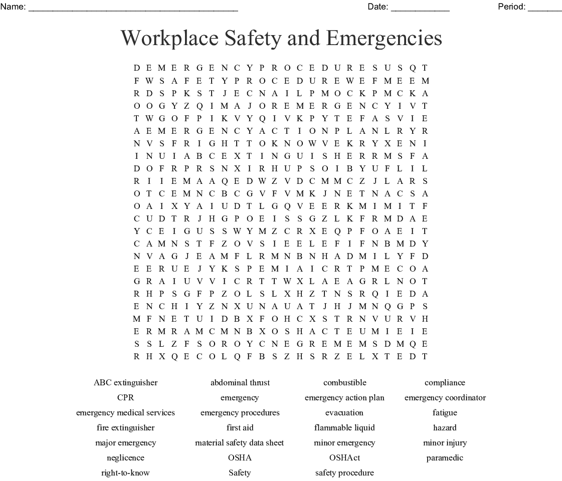 Workplace Safety Plan Worksheet