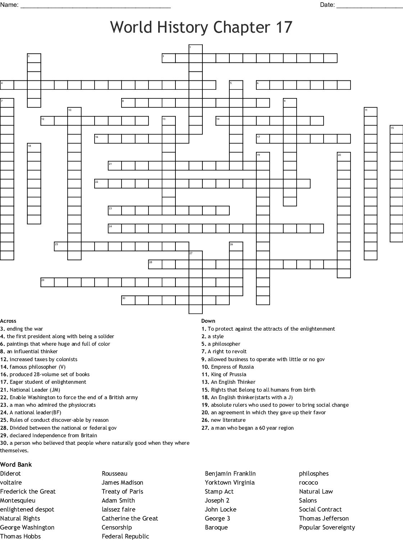 World History Chapter 17 Crossword