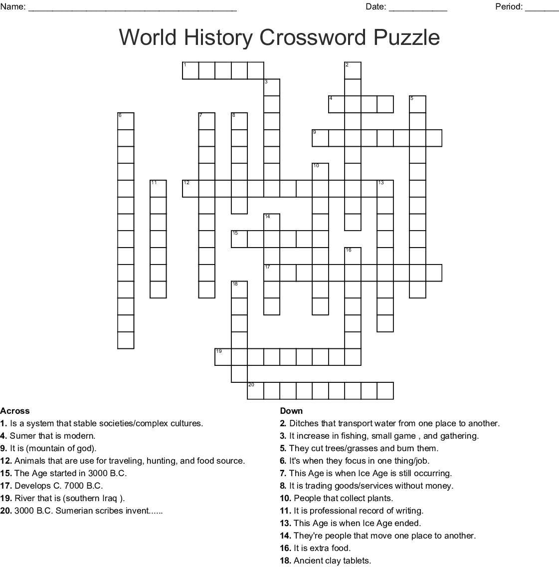 World History Crossword Puzzle Crossword