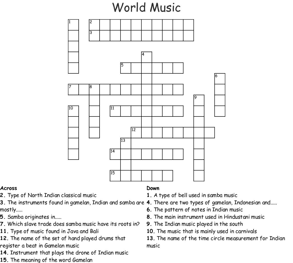 World Music Crossword