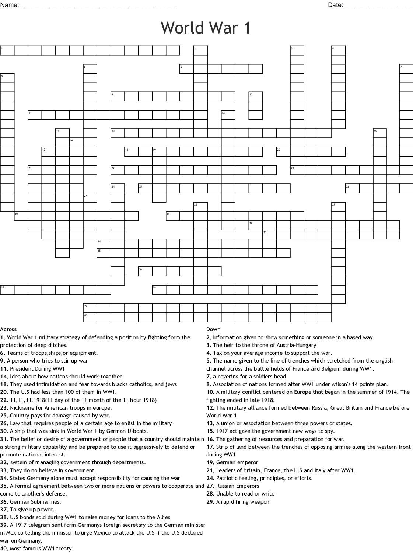 World War I Aircraft Crossword