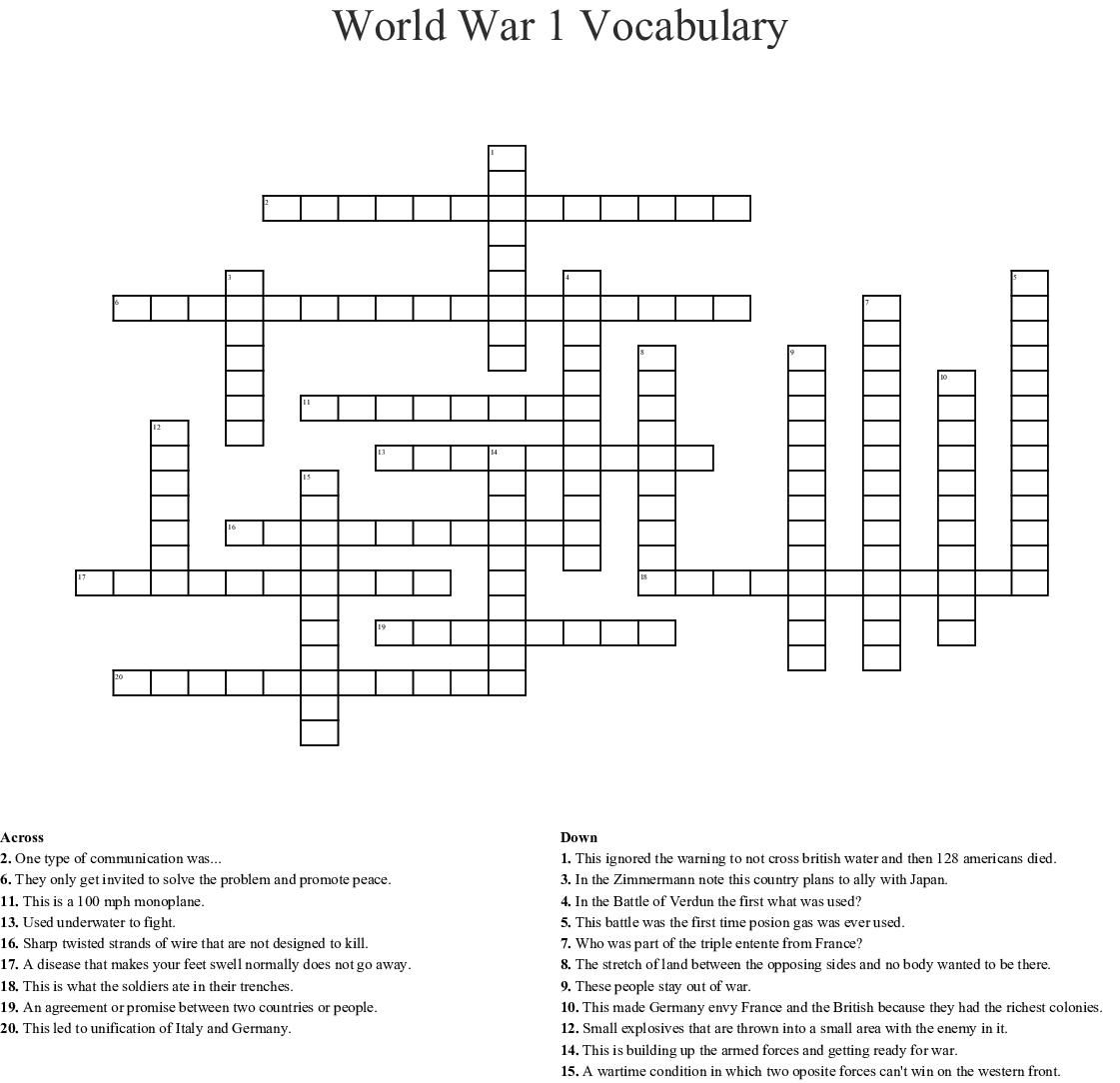 World War 1 Vocabulary Crossword