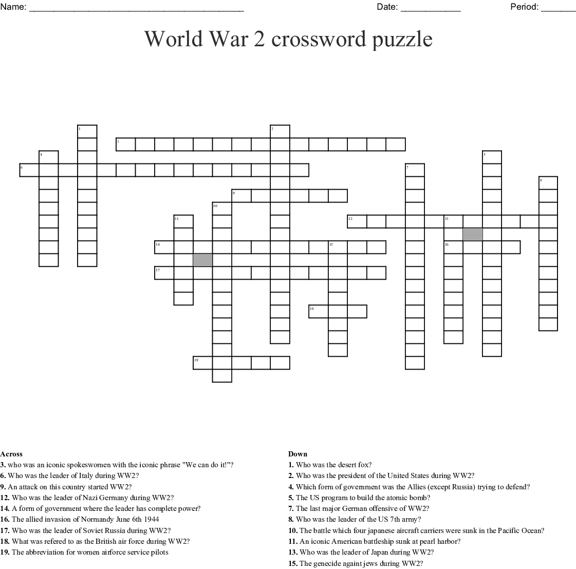 Leaders Ww2 Worksheet