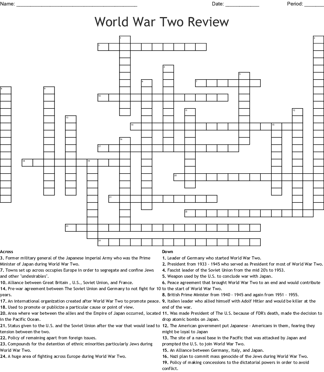 World War Two Review Crossword