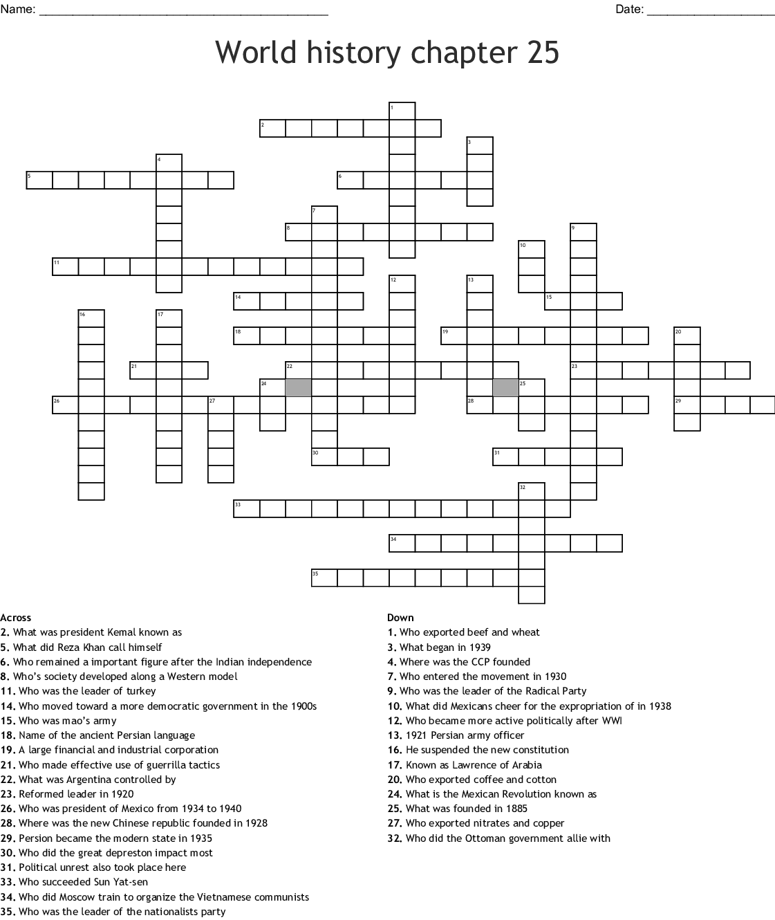 Chapter 25 The Industrial Revolution Crossword Puzzle