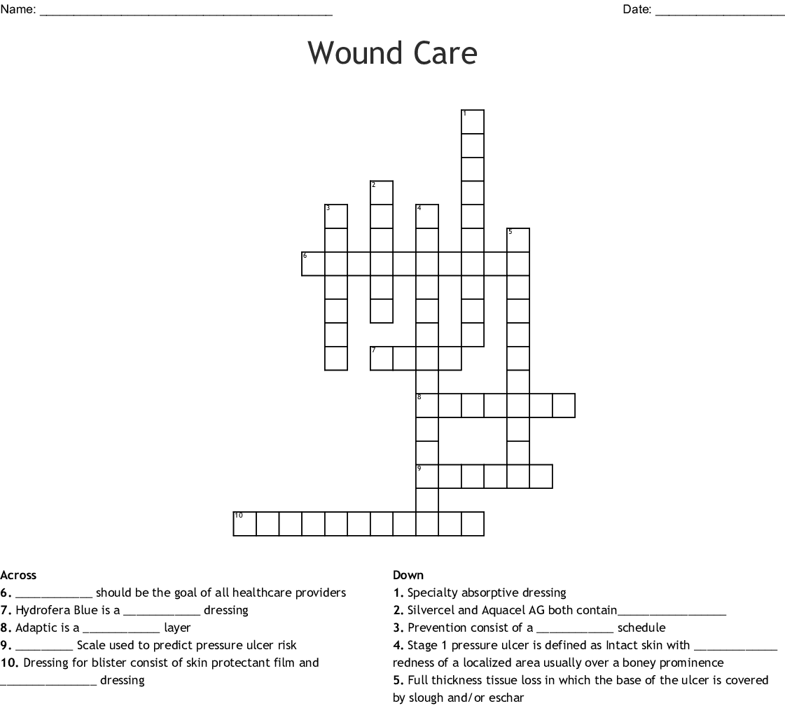 Pressure Ulcers Wound Assessment Crossword
