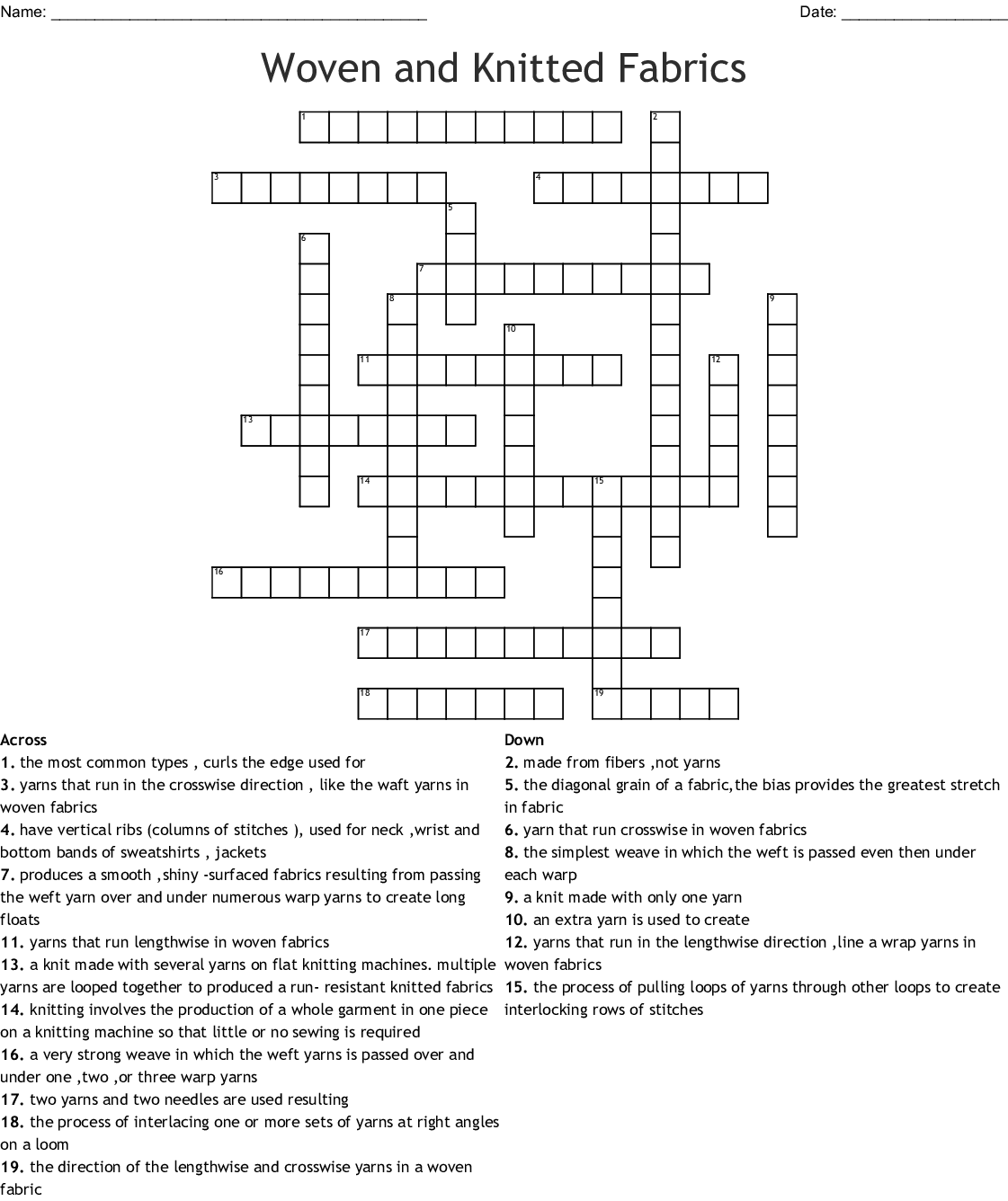 Woven And Knitted Fabrics Crossword