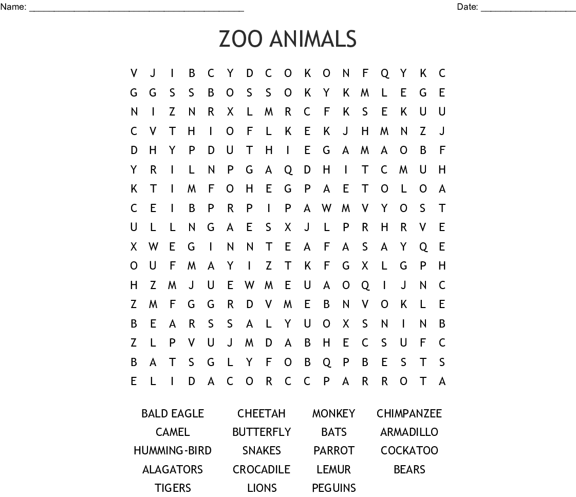 Similar To Zoo Animals Word Search