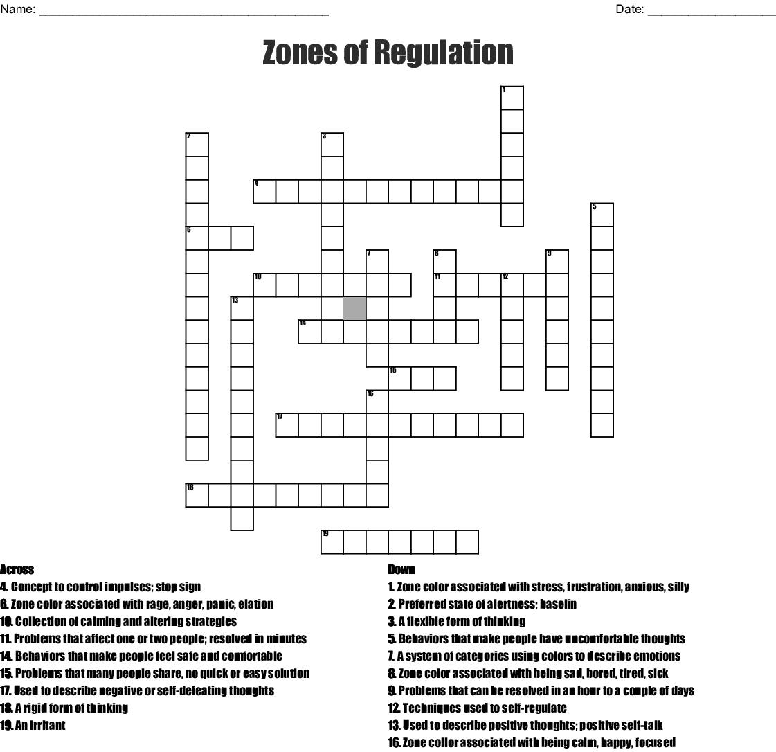Zones Of Regulation Crossword