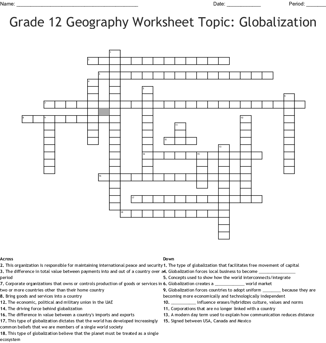 Grade 12 Geography Worksheet Topic Globalization