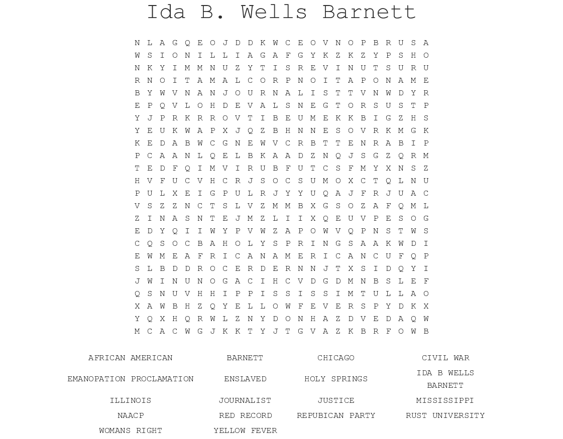 Ida B Wells Barnett Word Search