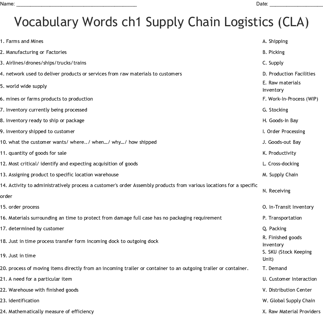 Vocabulary Words Ch1 Supply Chain Logistics Cla