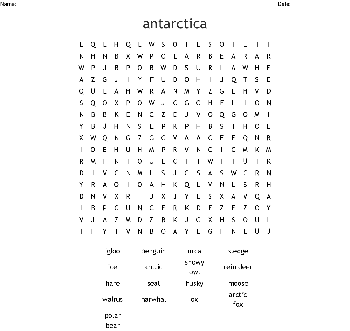 Arctic And Antarctica Word Search