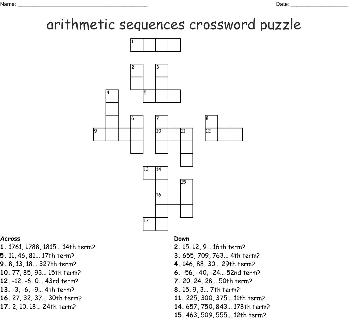 Arithmetic Sequences Crossword Puzzle