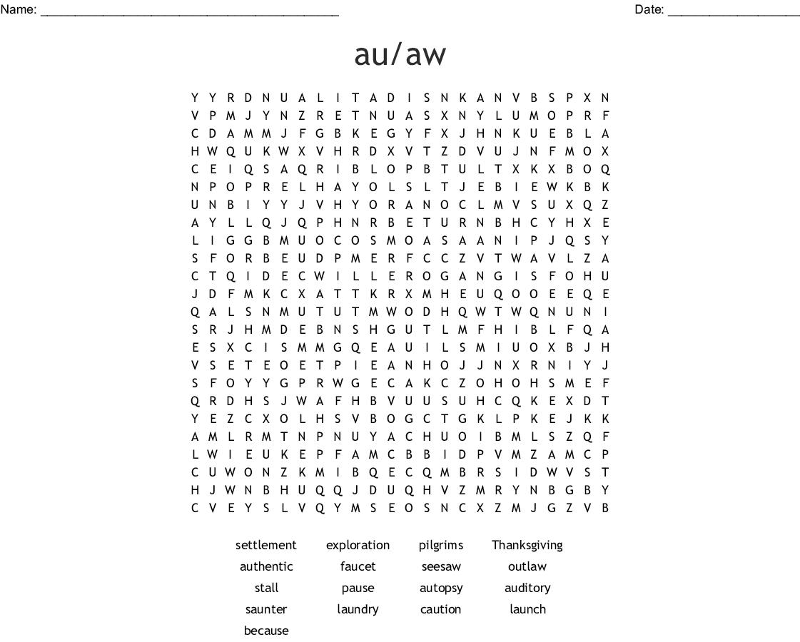 Or Aw Au Ough Augh Word Search