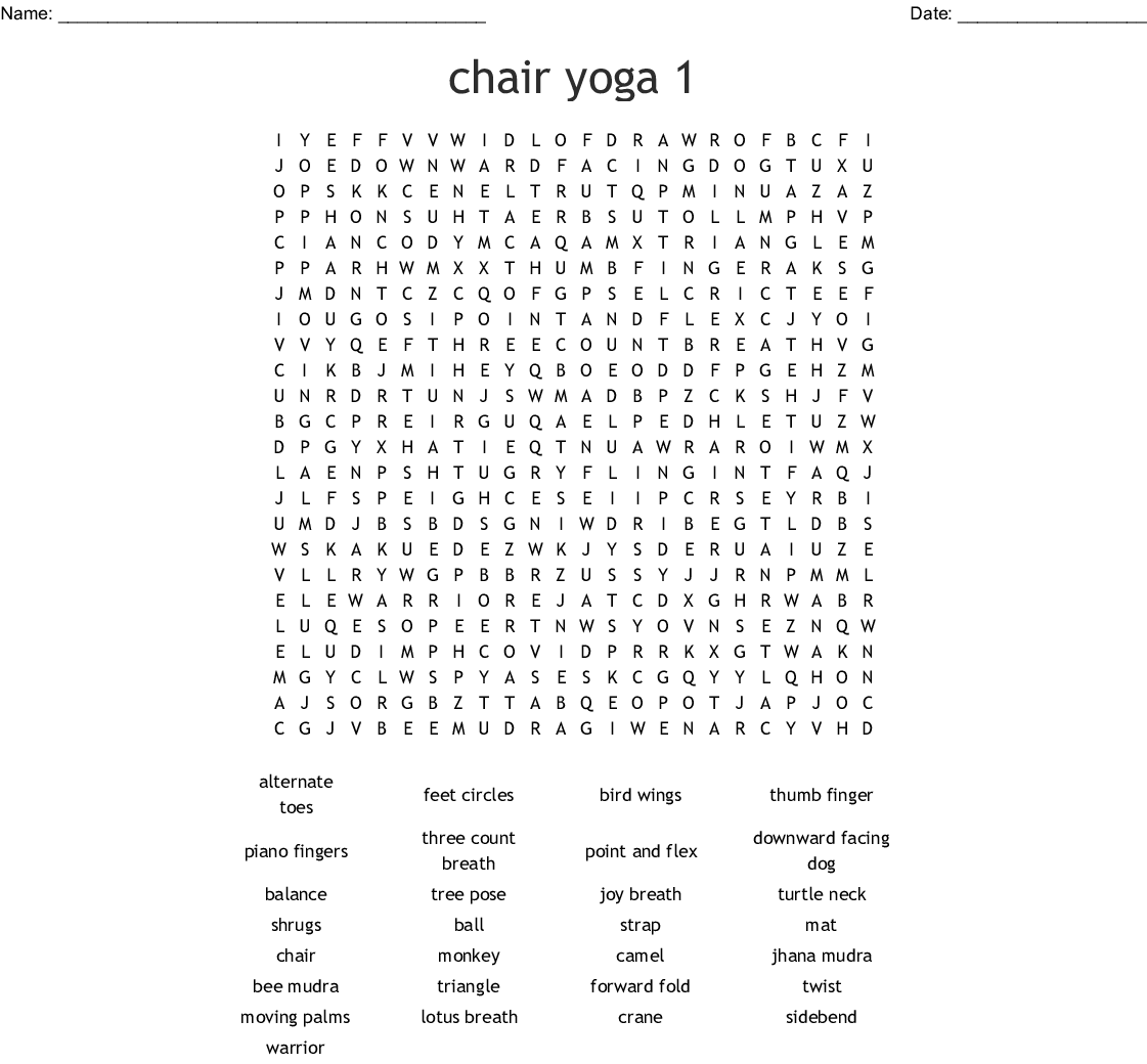 Chair Yoga 1 Word Search
