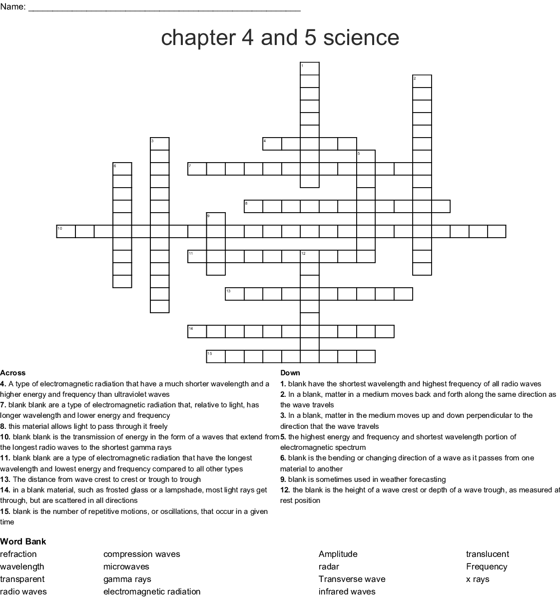 Chapter 4 And 5 Science Crossword