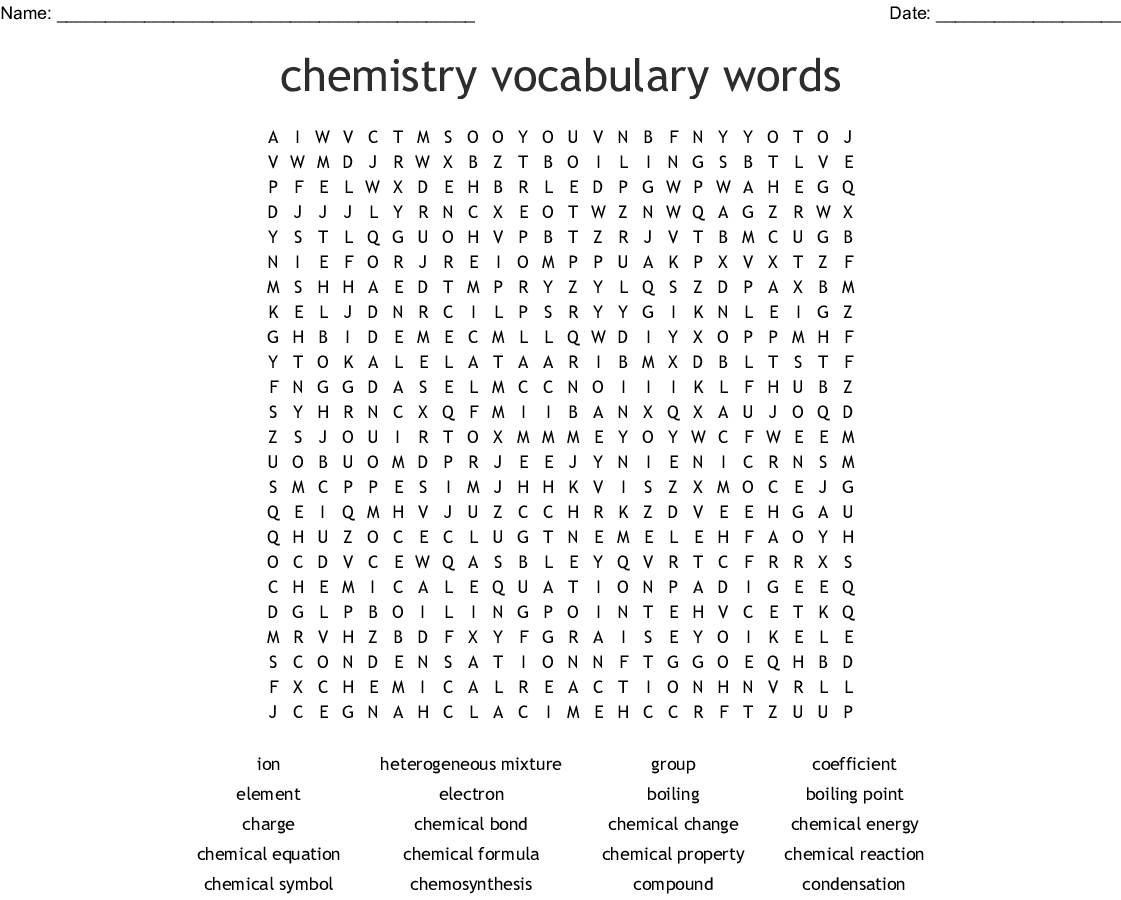 Spice Of Lyfe Chemical Reaction Word Search