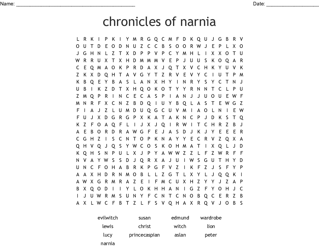 Chronicles Of Narnia Word Search