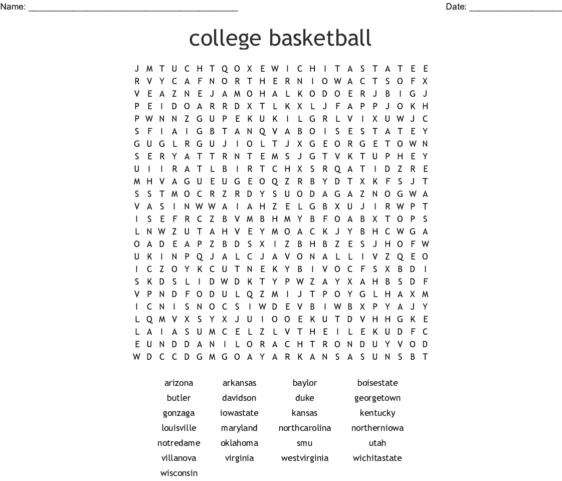 Free Printable Basketball Word Search Puzzle