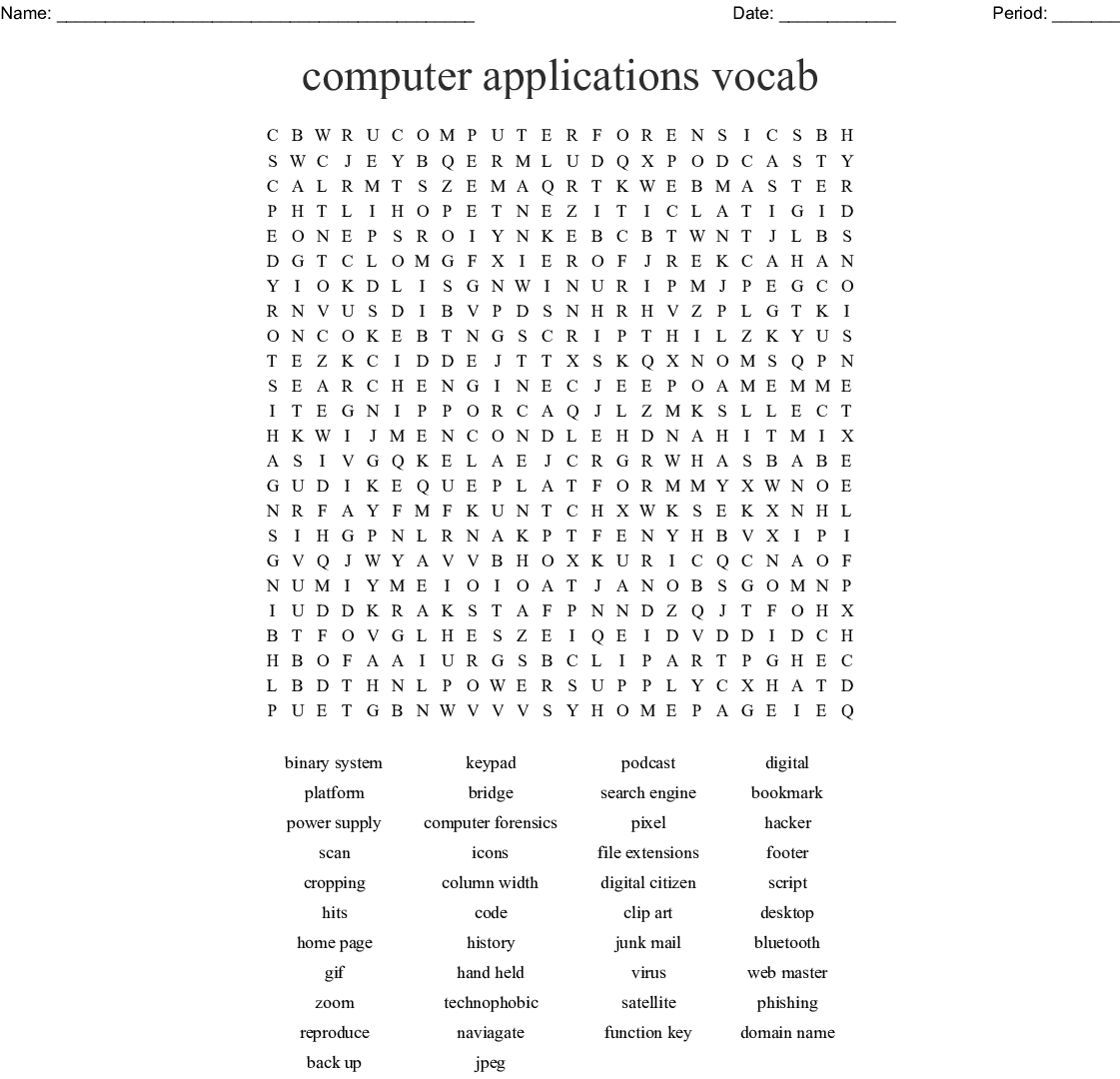 Computer Applications Vocab Word Search