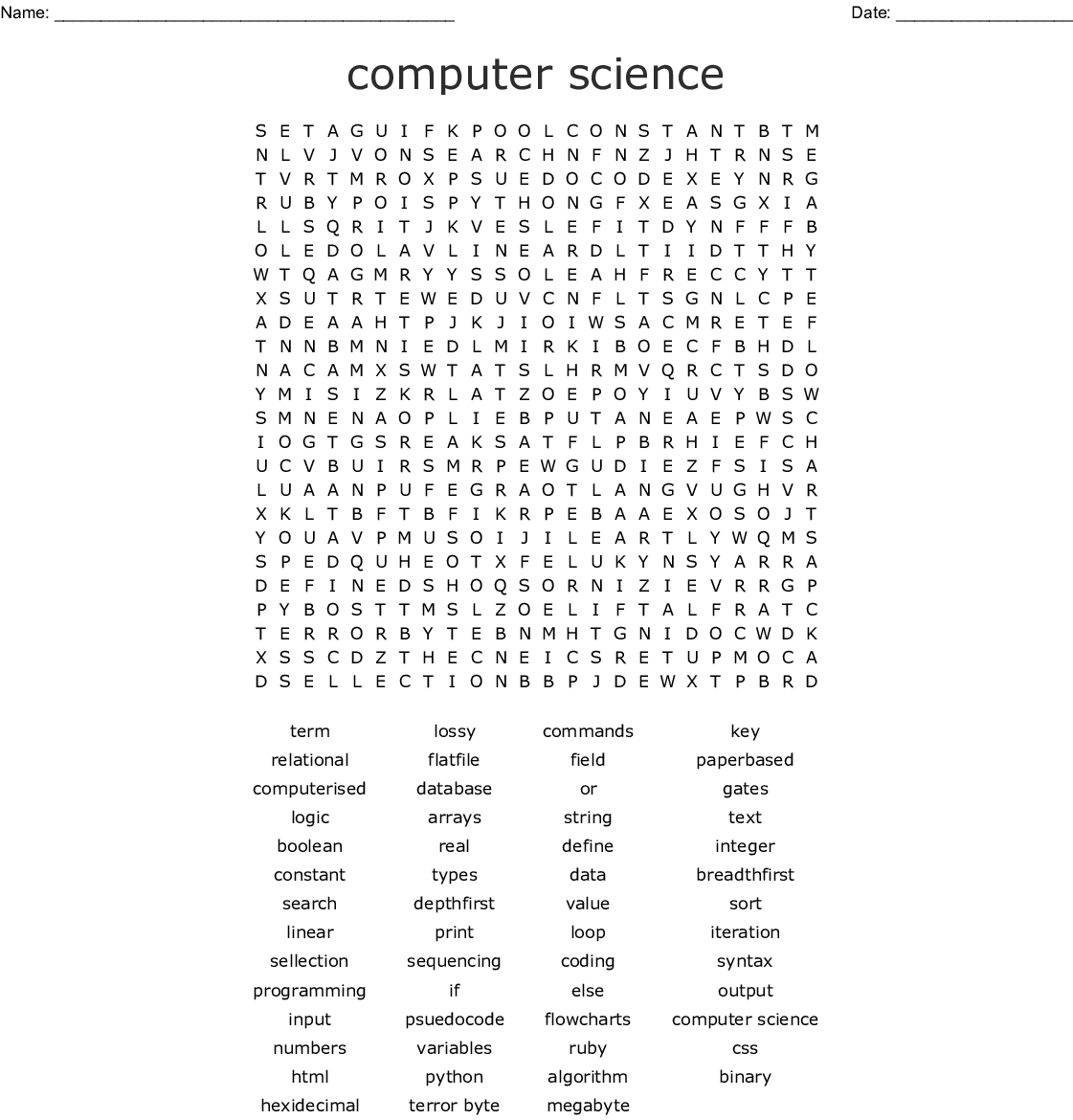 Computer Science Word Search