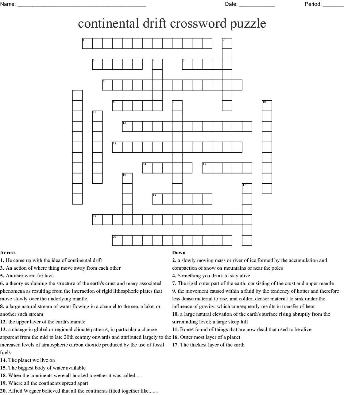Continental Drift Crossword Puzzle