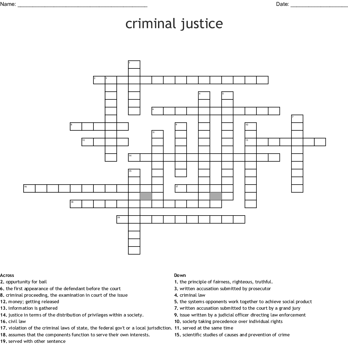 Unit 2 Criminal Law And Juvenile Justice Worksheet