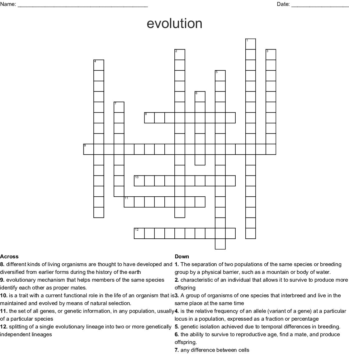 Charles Darwin Word Search